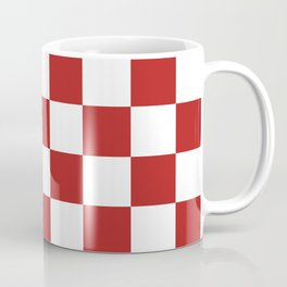 Checkered - White and Firebrick Red Coffee Mug