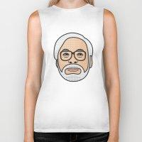 miyazaki Biker Tanks featuring Hayao Miyazaki Portrait - White by Cedric S Touati
