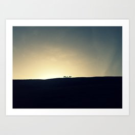 Sunset with horses Art Print