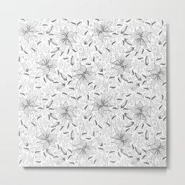 FLOWERS, PETALS AND HEARTS - GRAY Metal Print