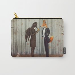 Raven and Fox in  a dark forest looking at the watch Carry-All Pouch