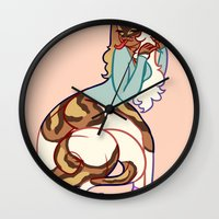 monty python Wall Clocks featuring ball python by chelsea canny