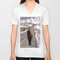 montana V-neck T-shirts featuring Montana Traffic Jam by Kim Ramage