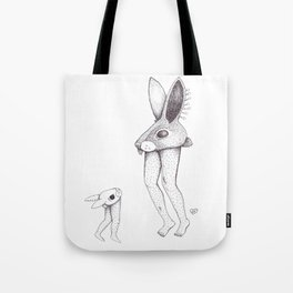 """Fluffy Bunny """"ssssh...the children are watching."""" Tote Bag"""