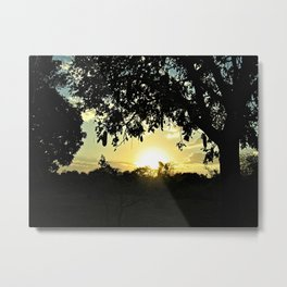 Sunset Forest Silhouette Trees Metal Print