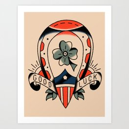 American traditional clover - good luck Art Print