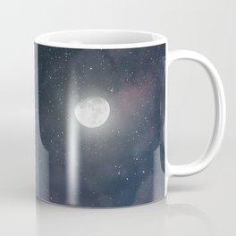 Glowing Moon on the night sky through pink clouds Coffee Mug