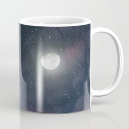 Glowing Moon on the night sky through pink clouds Coffee Mug