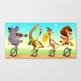 Funny wild animals on unicycles Canvas Print