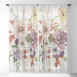 Fall Poppy Bouquet Sheer Curtain