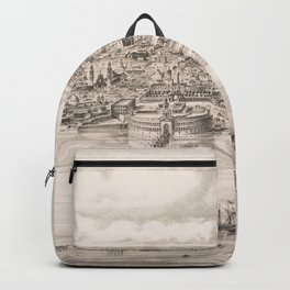 Vintage Pictorial Map of Buenos Aires Argentina (1850) Backpack