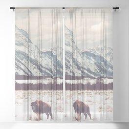 Bison & Tetons Sheer Curtain
