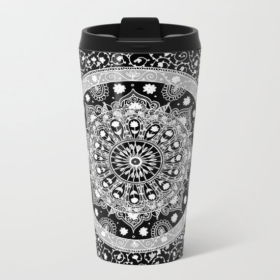 Black and White Mandala  Metal Travel Mug