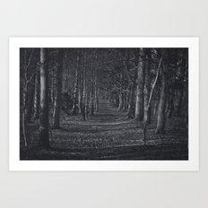 Dark & Eerie Creepy Forest (Black & White) Art Print