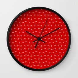 Red background with white minimal hand drawn ring pattern Wall Clock