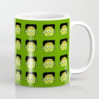 frankenstein Mugs featuring Frankenstein by Jessica Slater Design & Illustration