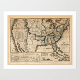 Map of the United States (1831) Art Print
