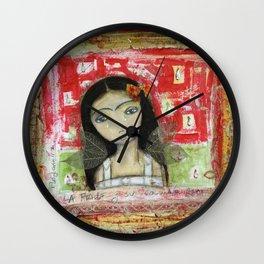 La Frida y su Columna Rota by Flor Larios Wall Clock