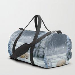 Sleeping polar fox Duffle Bag