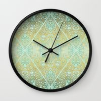 bedding Wall Clocks featuring Mint & Gold Effect Diamond Doodle Pattern by micklyn