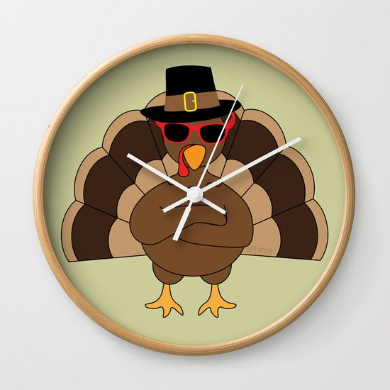 Cool Turkey with sunglasses Happy Thanksgiving Wall Clock