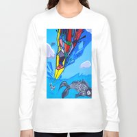 transformer Long Sleeve T-shirts featuring Trippy Transformer Bird Mixed Media Painting on Canvas by VibrationsArt