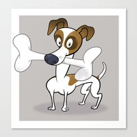 jack russell Canvas Prints featuring Jack Russell by drawgood