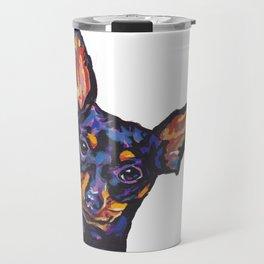 Miniature Pinscher Dog Portrait bright colorful Fun Pop Art Dog Painting by LEA Travel Mug