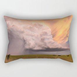 Storm Runner - Thunderstorm in Golden Light Over Kansas Landscape Rectangular Pillow