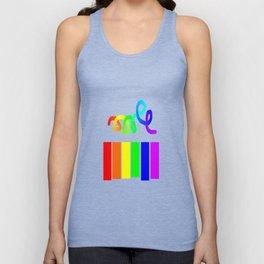 Rainbow on white Unisex Tank Top