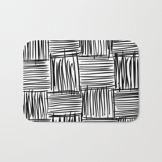 Modern Square Black on White Bath Mat