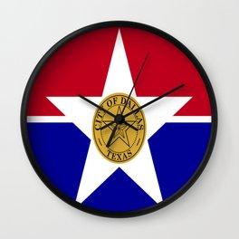 American cities-  Flag of Dallas. Wall Clock