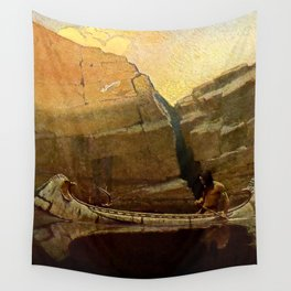 "N C Wyeth Vintage Western Painting ""Birch Bark Canoe"" Wall Tapestry"