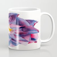 thanksgiving Mugs featuring Thanksgiving Dahlia by Powers Fine Art Watercolor Studio