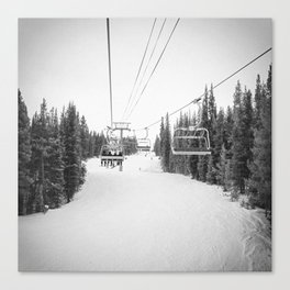 Ski Chair Lift B&W \\ Deep Snow Season Pass Dreams \\ Snowy Winter Mountains Landscape Photography Canvas Print