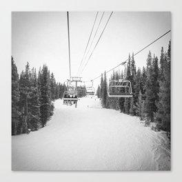 Ski Chair Lift B&W \\ Deep Snow Season Pass Dreams \\ Snowy Winter Mountains Landscape Photography Canvas Print
