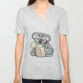 Writing Koala Cute Bill Author Writer Pencil Comic Unisex V-Neck