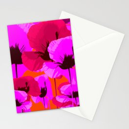 Pink And Red Poppies On A Orange Background - Summer Juicy Color Palette Retro Mood #decor #society6 Stationery Cards