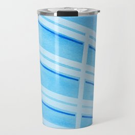 Blue Building - Watercolor, Tapeart Travel Mug