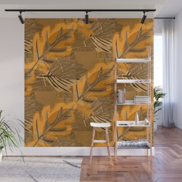 Orange and brown leaves and geometric shapes. Grunge Wall Mural