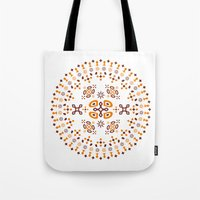orange pattern Tote Bags featuring Pattern - Orange by Fernando Rocks - Let's Rock the Wall