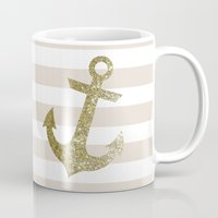 gold glitter Mugs featuring GLITTER ANCHOR IN GOLD by colorstudio