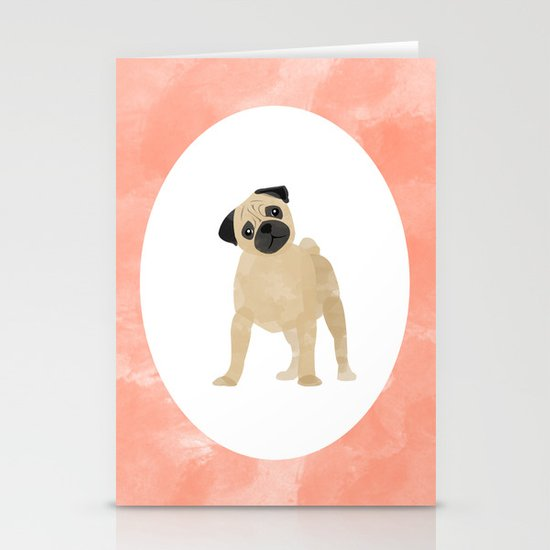 Pug Puppy Digital Watercolor Stationery Cards
