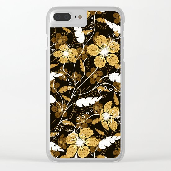 Abstract,floral pattern. Golden flowers on a black background. Clear iPhone Case
