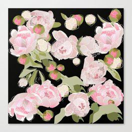 Peonies on Black Canvas Print