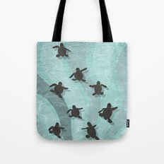 Loggerhead sea turtle hatchlings Tote Bag
