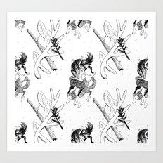 woman wolf pattern Art Print