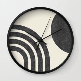 Mid Century Modern - Sun & Rainbow BW Wall Clock