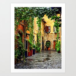 Vintage street in Rome, after Rain Art Print