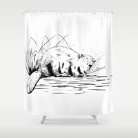 beaver Shower Curtains featuring Beaver Yawn by Angela B Comics